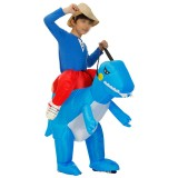 Halloween Inflatable Dinosaur Rider Costume Cosplay Carnival Party Fancy Dress