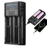Astrolux MC02 2 in1 USB Charging Mini Battery Charger Portable Mobile Phone Power Bank Current Optional Charger For 18650 21700 26650 Li-ion Battery