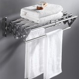 Bakeey Telescopic Perforated Towel Rack Stainless Steel Wall Mount Expandable Towel Rack Clothes Shelf Laundry Bathroom Storage Rack