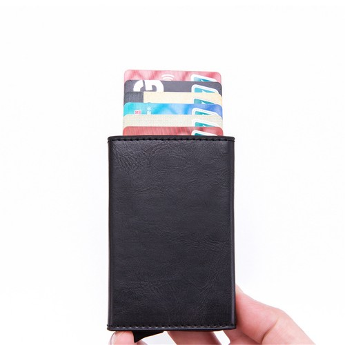 RFID Protection Card Holder PU+Aluminum Alloy One-Push Popup Design Card Cash Wallet Fashion Slim Portable Wallet Indoor Outdoor