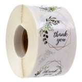 500Pcs/Roll 1 Thank You Sticker Label DIY Round Transparent Plastic Label Stickers Adhesive Sticker Packaging Gift Roll Tape