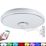 40cm 48W Wifi RGB LED Bluetooth Play Music Smart Ceiling Light Dimmable APP Intelligent Voice Remote Works with Alexa Google Home