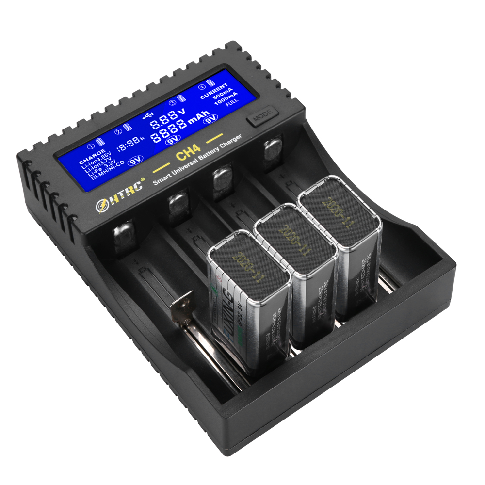 HTRC CH4 Battery Charger Li-ion Li-fe Ni-MH Ni-CD Smart Fast Charger for 18650 26650 6F22 9V AA AAA 16340 14500 Battery Charger
