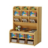 Wooden Pencil Pen Storage Box Tilting Desktop Stationary Holder Organizer Home Office Supplies Storage Rack