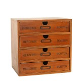 Wooden Drawer Storage Box Retro Desktop Storage Cabinet Sundries Finishing Box Jewelry Cosmetic Organizer for Office Home