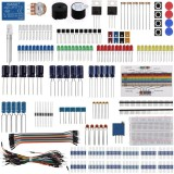 Electronic Component Base Fun Kit Bundle with Breadboard Cable Resistor Capacitor LED Potentiometer for Arduino
