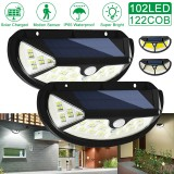 102LED/122COB 3 Modes Solar Motion Sensor Light 2835SMD Outdoor Super Bright and Wide Lighting Range Outdoor Lights Waterproof Led Security Lights Solar Flood Lights for Backyard Fence Patio