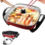 1500W 220V 5.5L Multifuctional Electric Skillet Heating Pan Hotpot Noodles Rice Eggs BBQ Soup Cooking Pot Food Steamer