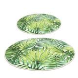 Floor Round Mat Tropical Green Anti Slip Leaves Carpet Home Living Room Coffee Table Sofa Floor Mat Supplies