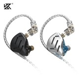 KZ ZAX Wired Earphones 16-Unit Ring Iron Moving Iron Metal Wired HIFI Wheat Sport Upgrade Cable Noice Reduction In-Ear Headphones With Mic