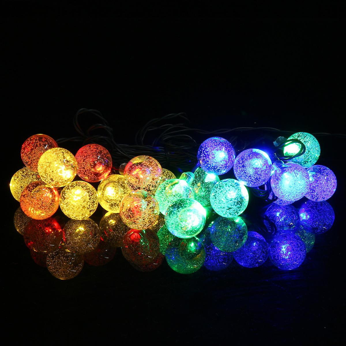 5/7/12m LED Solar Outdoor Waterproof Lamp 2.3cm Diameter Ball Shape Christmas Light String Balcony Garden Decoration Lights Christmas Decorations Clearance Christmas Lights