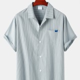 Mens Pinstripe Cotton Revere Collar Casual Short Sleeve Shirts With Pocket