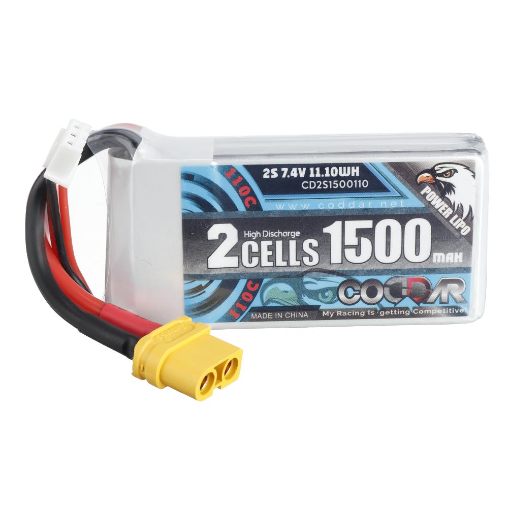 CODDAR 7.4V 1500mAh 2S 110C Lipo Battery XT30/XT60 Plug Optional for RC Drone