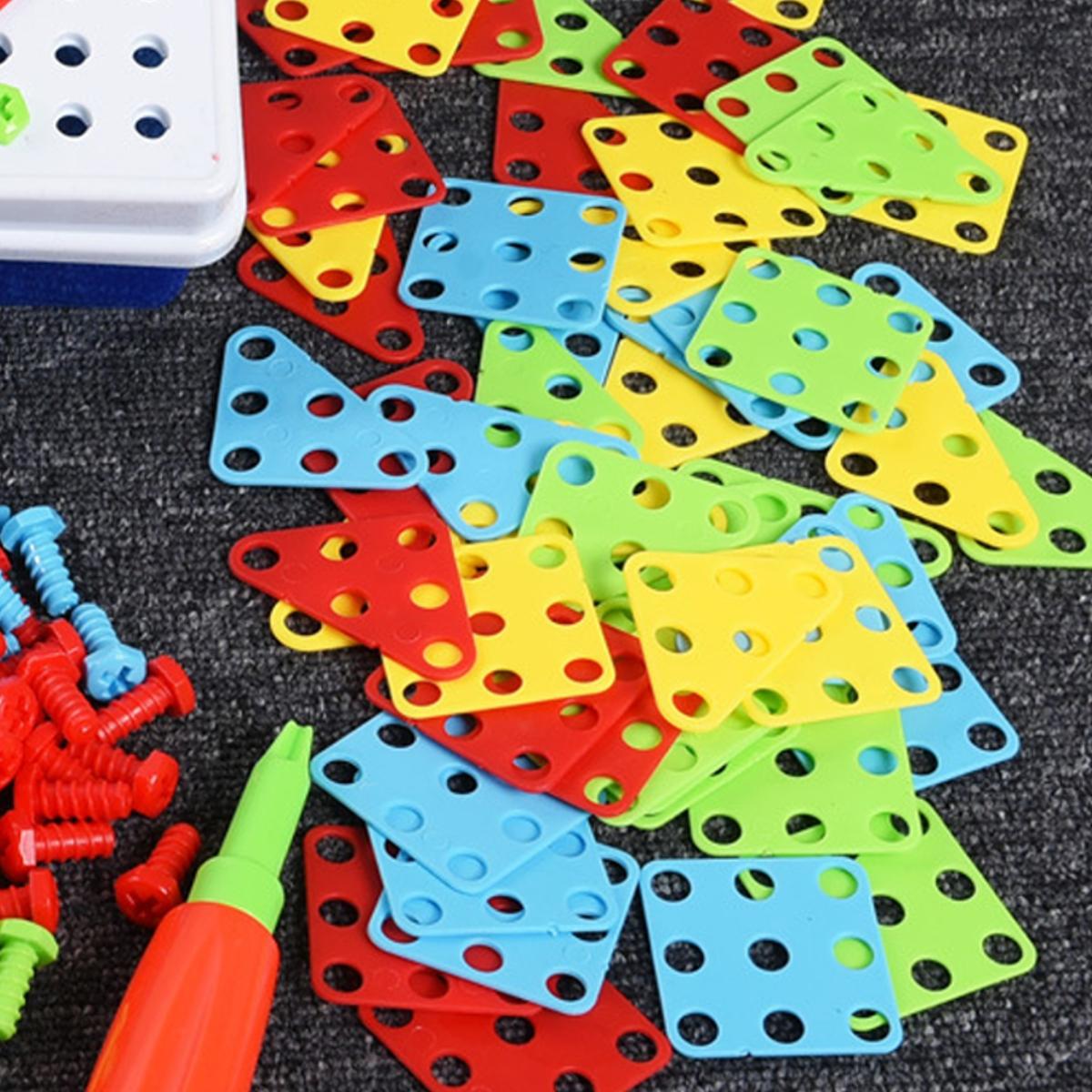 237 Pcs Creative Mosaics 3D DIY Assemble Electric Drill Puzzle Building Blocks Peg Educational Toy for Kids Gift