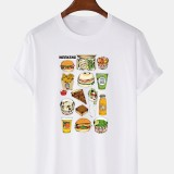 100% Cotton Cartoon Fast Food Print Crew Neck Loose Short Sleeve T-Shirts