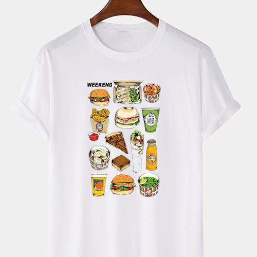 100% Cotton Cartoon Fast Food Print Crew Neck Loose Short Sleeve T-Shirts
