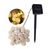 Solar Powered 6.5M 30 LED Rattan Balls Fairy String Lights Warm White/Multicolor Christmas Holiday Outdoor Waterproof Patio Garland Decorative Lights