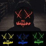 EL Cold Light Mask LED Light Luminous Halloween Mask Cosplay Glow LED Scary EL Wire Light Up Grin Masks Hip-hop Luminous Cross Mask