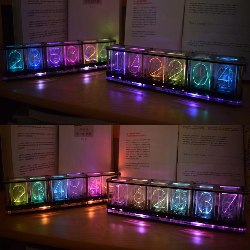 Geekcreit DIY Imitate Glow Clock Kit Full Color RGB Glow Tube Clock LED Music Spectrum Kit
