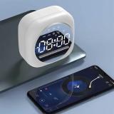 Loskii Wireless USB bluetooth 5.0 LED Mirror Alarm Clock Speaker TF FM Radio Clock Digital Snooze Table Clock Wake Up Phone Holder Electronic Large Time Display Home Decoran Clock