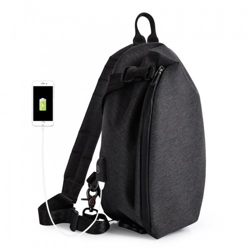 6L USB Sling Bag Casual Crossbody Shoulder Bag Waterproof Chest Bag Camping Travel Cycling