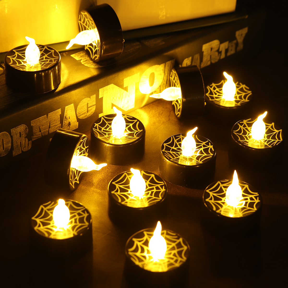 12Pcs LED Tea Lights Battery Operated Flickering Flameless Candles Halloween Pumpkin