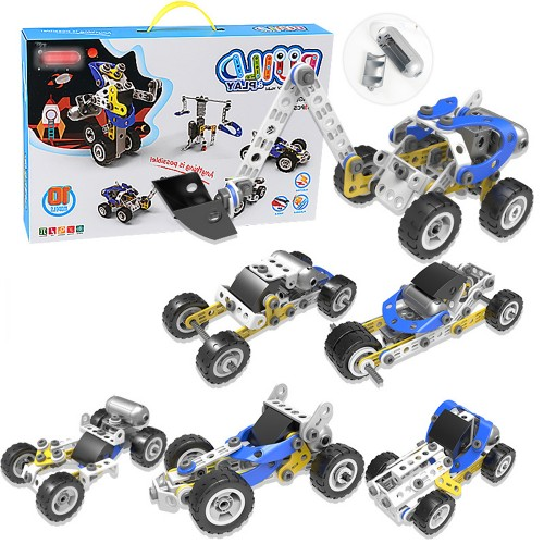 113 Pcs 10 IN 1 DIY Handmade Assembly Electric Motor Soft Rubber Building Blocks Car Model Toy for Kids Gift