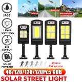 LED Solar COB Light PIR Motion Sensor Induction Wall Street Road Garden Lamp + Remote Control