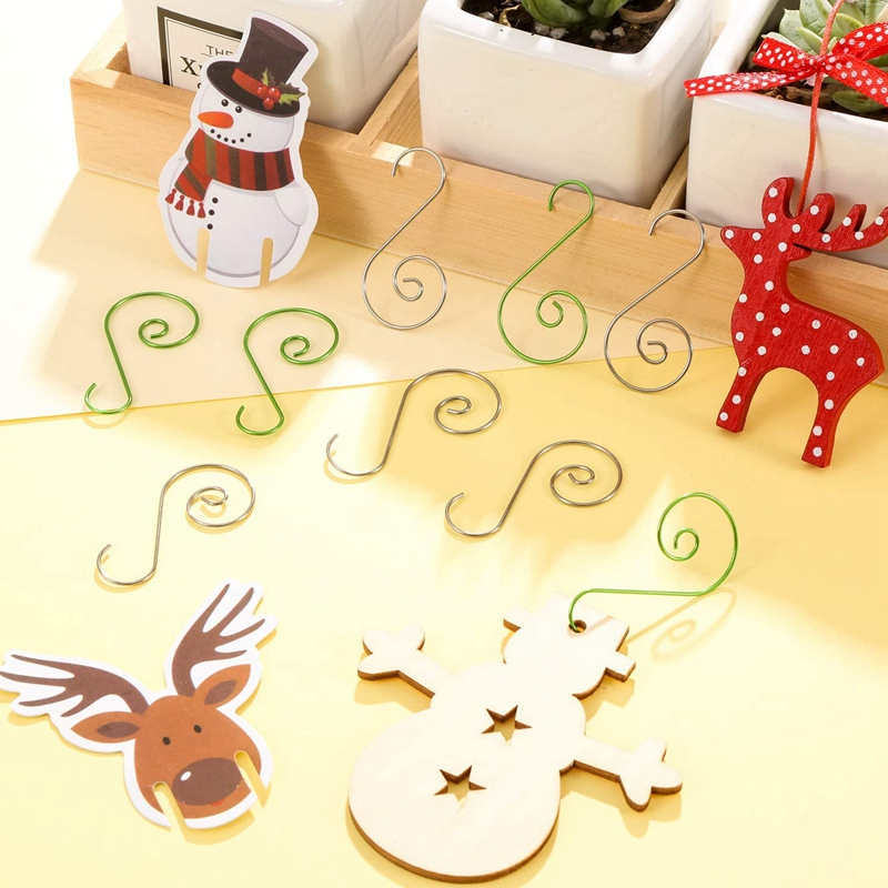 20 Pcs 1.0*25*50MM Christmas Ornament Hooks S-Shaped Flower Hook Perfect For Christmas Tree Decorations