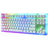 GamaKay K87 87 Keys Mechanical Gaming Keyboard Hot Swappable Type-C Wired USB 3.1 Translucent Glass Base Gateron Switch ABS Two-color Keycap RGB Gaming Keyboard
