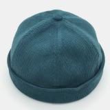 Men Corduroy Breathable Brimless Hats Caps Retro Solid Color Skull Caps