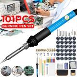 101Pcs 110V/220V 60W Electric Adjustable 200-450C Pyrography Soldering Iron Tools for Wood Working Burning Pen Tip Kit