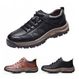 TENGOO Men's Casual Leather Shoes Classic Outdoor Sports Hiking Shoes Trekking Men's Footwear