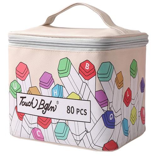 40/80/120/168 Colors Marker Pen Storage Bag Square Shape Large Capacity Leather Multifunction Color Storage Bag Pencil Case Supplies(Square Version)