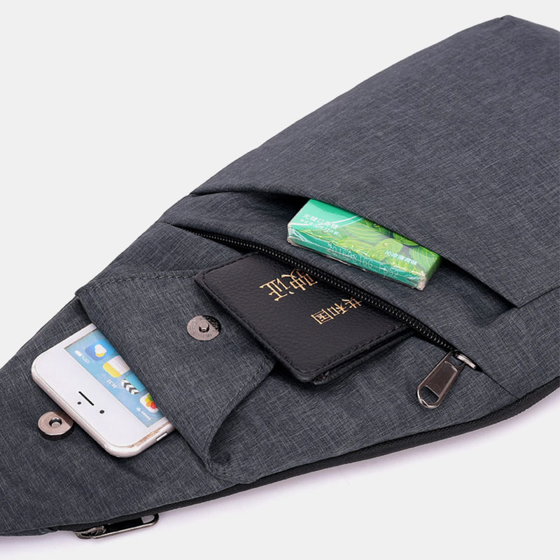 Men Polyester Large Capacity Multi-pocket Waterproof Casual Crossbody Bag Chest Bag Sling Bag