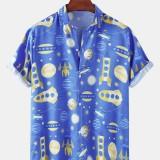 Funny Cartoon Space Print Lapel Collar Casual Mens Short Sleeve Shirts