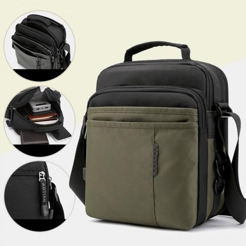 Men Oxford Multi-Layers Anti-theft Waterproof Casual Crossbody Bag Chest Bag Sling Bag