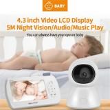 SHIWOJIA BM288 Wireless Digital Video Baby Monitor 4.3inch Display Screen 1080P Night Vision Two Way Audio USB Charging IP Camera