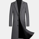 Mens Woolen Single-Breasted Flat Collar Casual Long Trench Coats With Flap Pocket