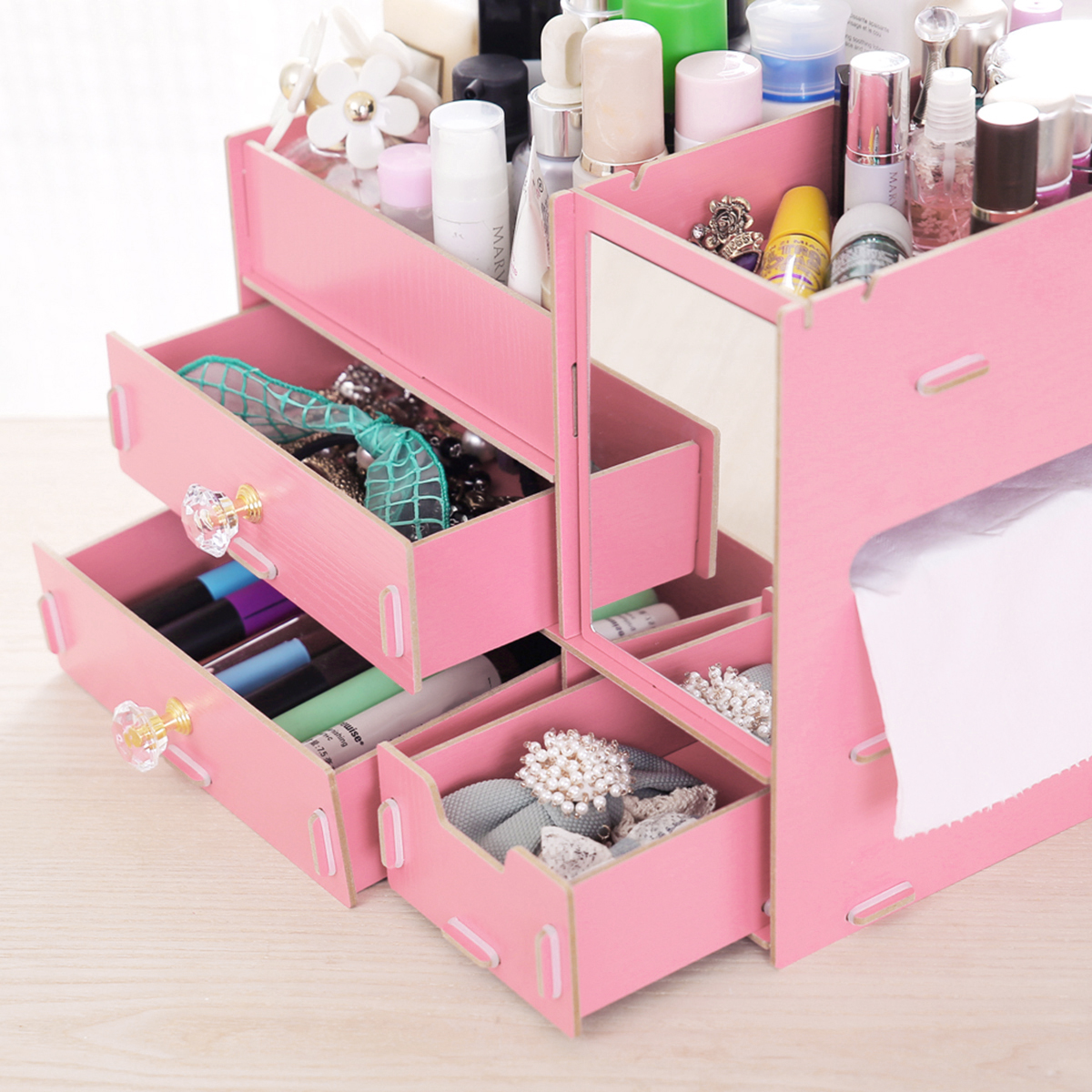 Cosmetics Storage Box Makeup Organizer Drawer Desktop Sundries Container with Mirror Nail Polish Lipstick Storage Box Jewelry Case