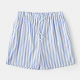 Men Lightweight Casual Striped Shorts Drawstring Swim Trunks Summer Breathable Shorts