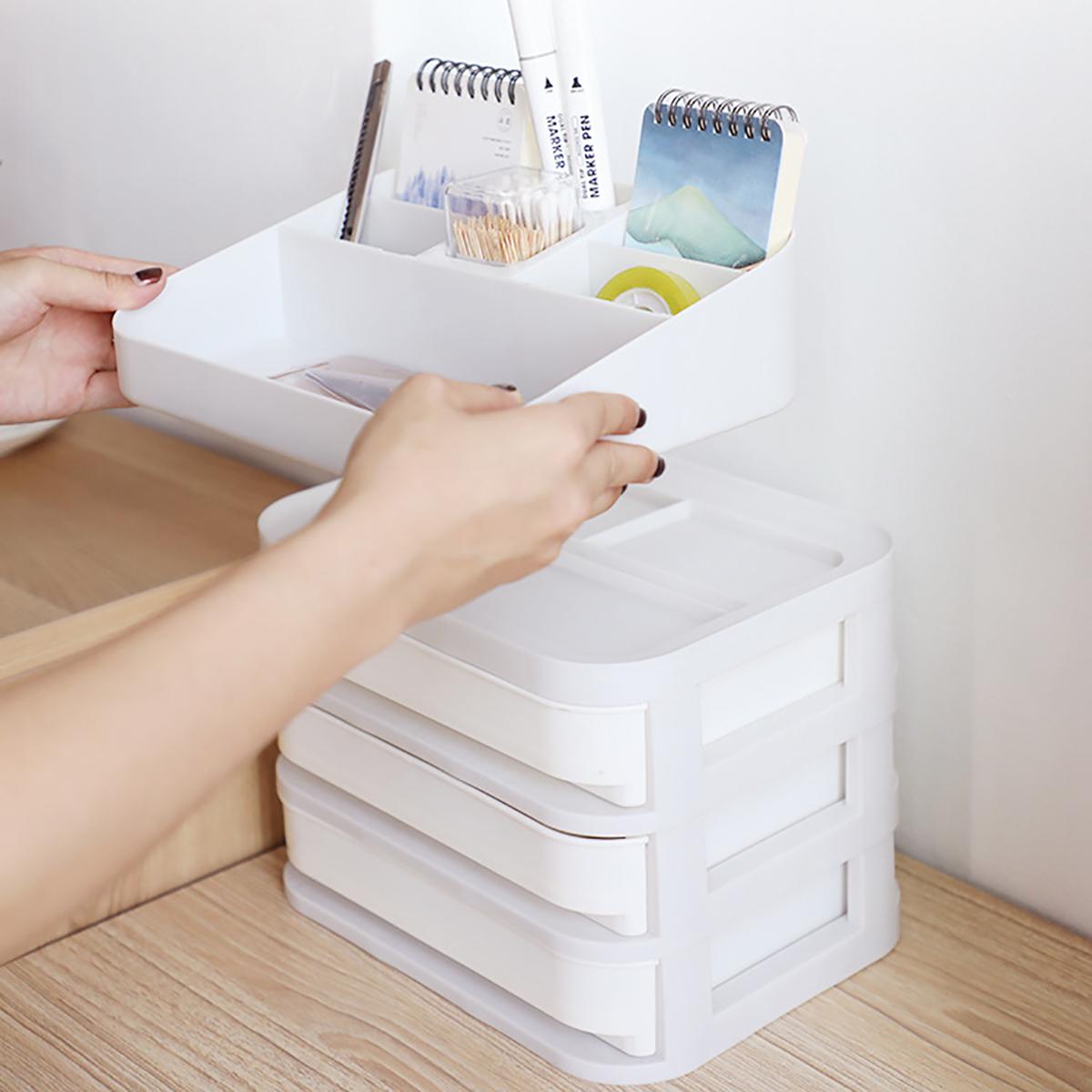 Desktop Cosmetics Storage Box Plastic Makeup Organizer Drawer Type Sundries Case 1/2/3/4/5 Layers Nail Polish Lipstick Jewelry Case