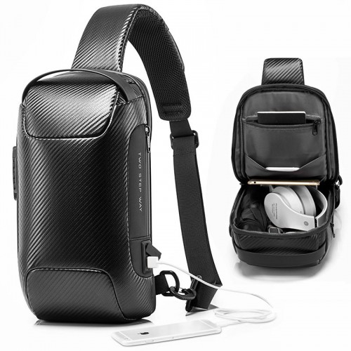 BANGE USB Charging Sling Bag Carbon Fiber Waterproof Anti-theft Lock Crossbody Bag Chest Bag Outdoor Camping Travel Cycling