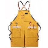 Denim Woodworking Apron Shop Apron Pockets Waxed Wax Cloth Waterproof Apron Chef Tool Storage – Grey