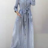 Women Stripe Long Sleeve Casual Double Pocket Maxi Shirt Dresses With Belt
