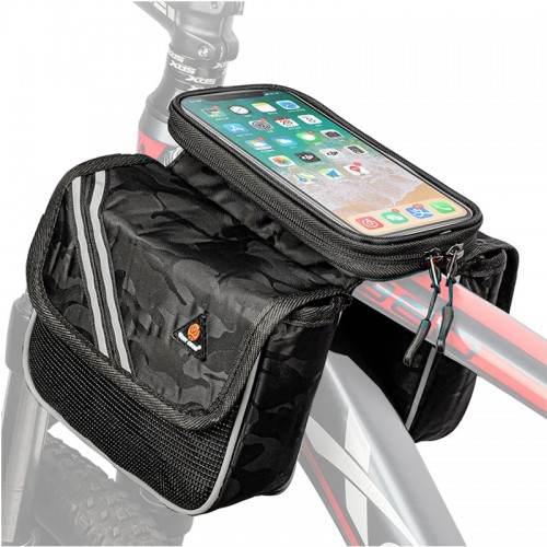 WEST BIKING Rainproof Bicycle Bag Touch Screen 6.5 inch Phone Bag Reflective Cycling Frame Front Tube Bags For MTB Road Bike