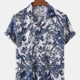 Mens Plant Print Hawaii Casual Button Up Cotton Short Sleeve Shirts