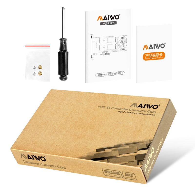 MAIWO RAID Dual Bay M.2 SSD PCIe Card for 2240 2260 2280 M.2 SATA SSD Hard Disk Enclusure MAIWO KC33D6 Plus