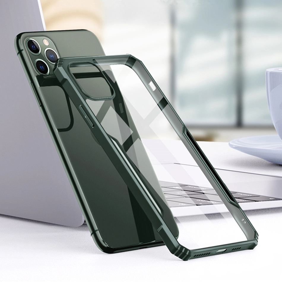 Bakeey for iPhone 11 Pro Max Case Armor Bumper Transparent Acrylic + Soft TPU Edge Shockproof Protective Case