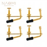 NAOMI 4 pcs Golden Violin Fine Tuners String Adjusters 3/4 4/4 Violin Alloy Tuners Spinner Fiddler Strings Adjuster With Cushion